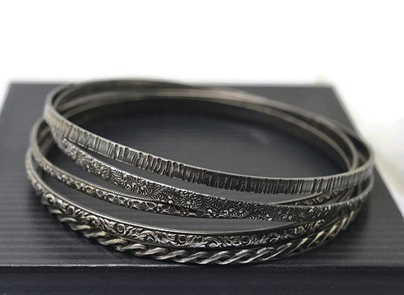 Handmade Patterned Sterling Silver Stacking Bangles Set of 5