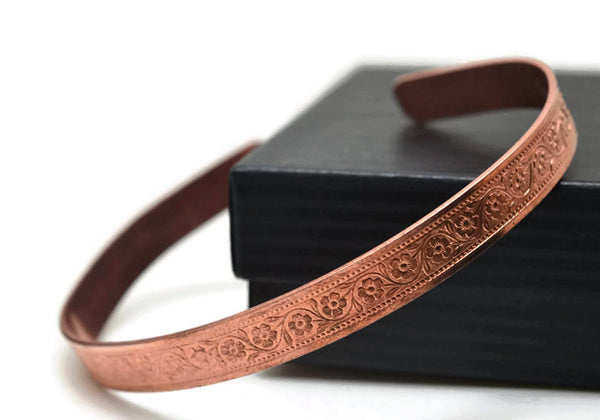 Women's Adjustable Floral Copper Cuff