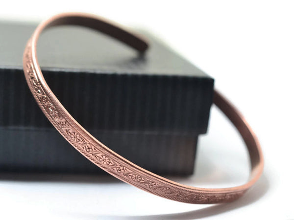 Narrow Floral Copper Cuff Bracelet