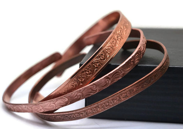 Set of Three Floral Patterned Pure Copper Cuffs