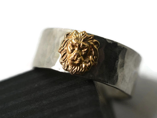 Handmade Sterling Silver & 14K Gold Lion Wedding Band