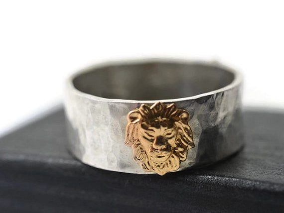 Handmade Personalised Sterling Silver & 14K Gold Lion Ring