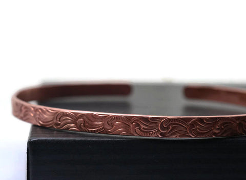 Adjustable Feather Plume Patterned Copper Cuff