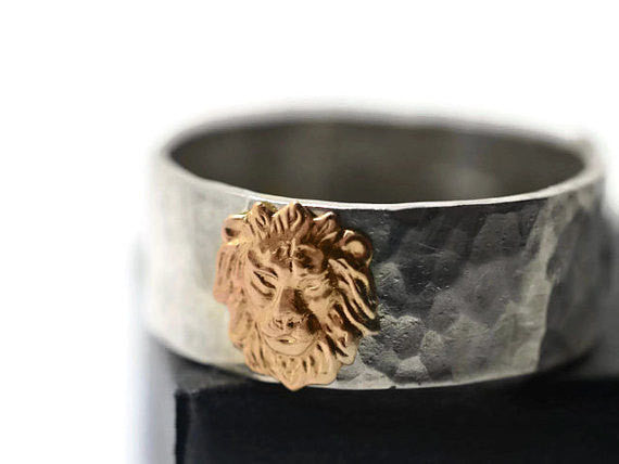 Handforged Sterling Silver & 14K Gold Lion Wedding Ring
