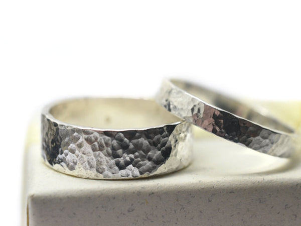 Hammered Sterling Silver Wedding Ring Set with Engraving