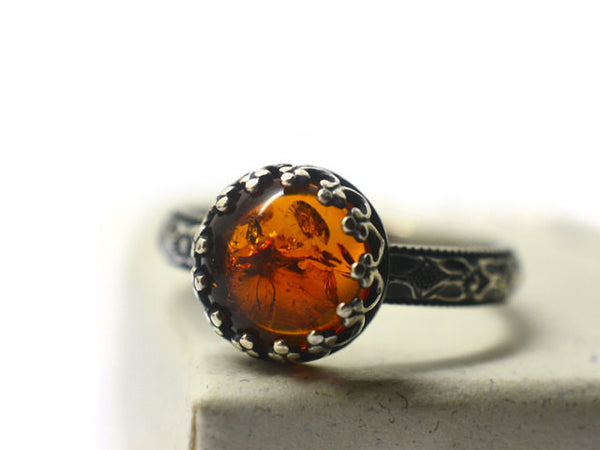 Handmade Oxidized Floral Silver Baltic Amber Engagement Ring