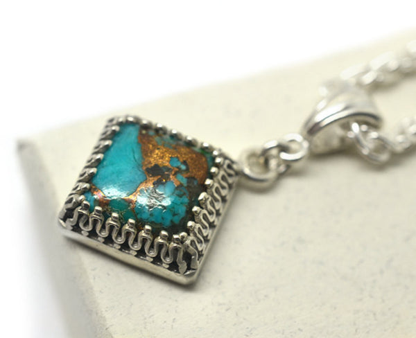 Women's Square Copper Turquoise Pendant in Sterling Silver