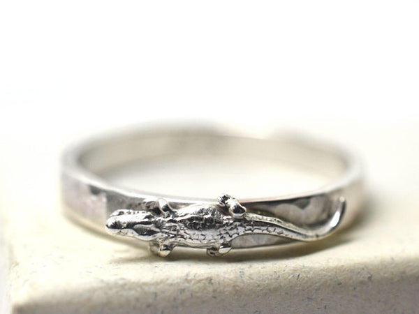 Sterling Silver Alligator Charm Ring for Men & Women
