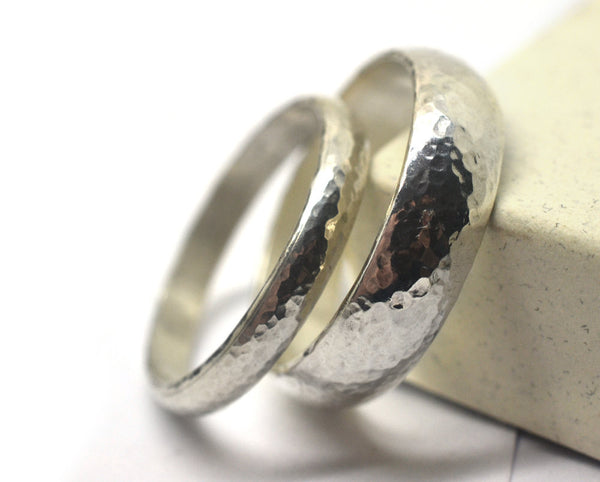 Handmade Domed Silver Wedding Ring Set for Men & Women