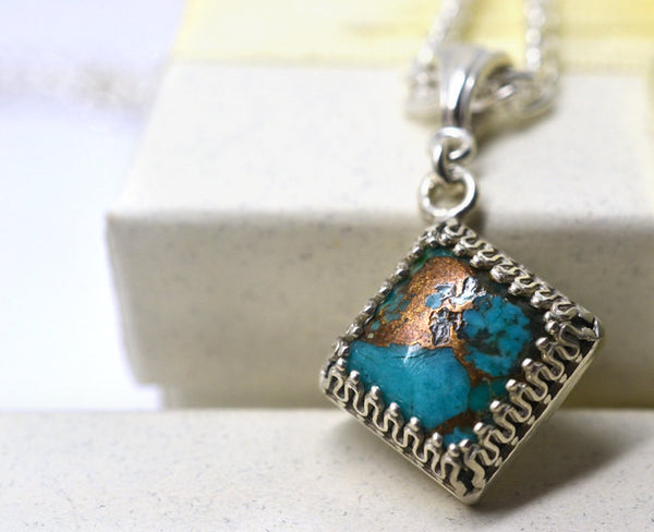 Square Copper Turquoise Pendant in Sterling Silver