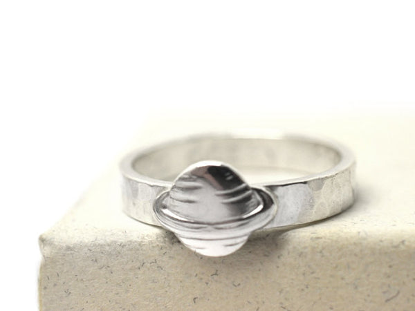 Handmade Sterling Silver Planet Ring with Engraving