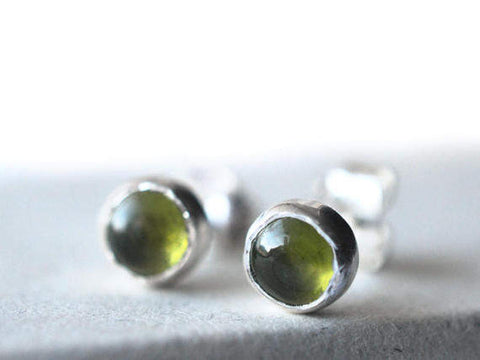 Natural Green Vesuvianite Gemstone Studs in Silver