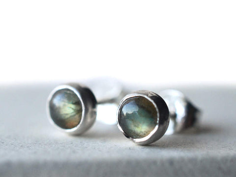 5mm Round Labradorite Post Earrings in Sterling Silver
