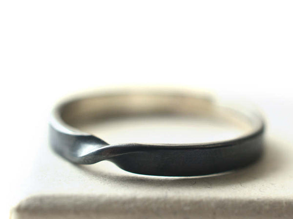 Handmade Oxidized Sterling Silver Narrow Mobius Twist Ring
