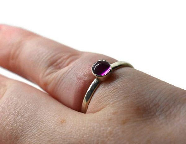 Handmade Pink Tourmaline Stacking Ring in Sterling Silver