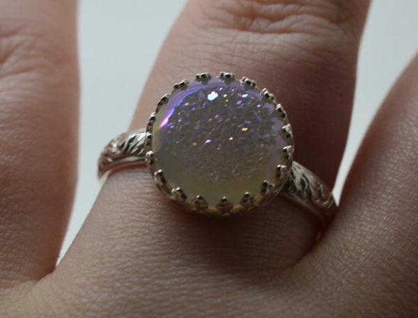 Handcrafted White Druzy Agate Ring with Floral Silver Band