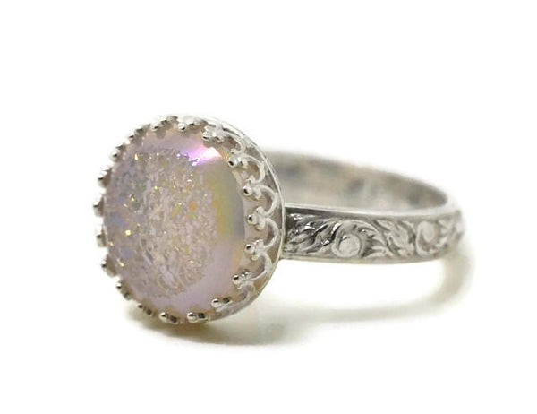 Handforged Patterned Silver & White Druzy Agate Cocktail Ring