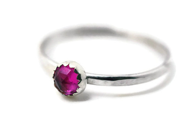 Handmade Sterling Silver 4mm Ruby Stack Ring
