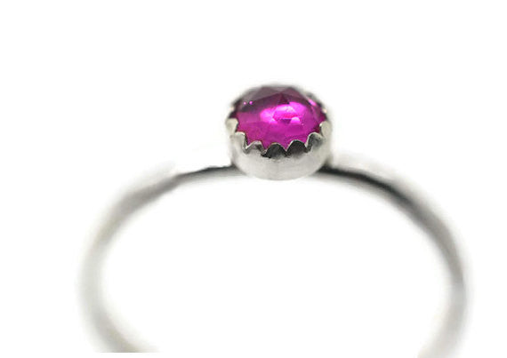 Handforged Sterling Silver & 4mm Lab Created Ruby Ring