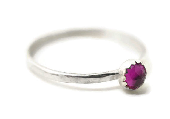 Handmade Sterling Silver & 4mm Lab Created Ruby Ring