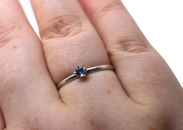 Handmade Sterling Silver & Dainty Tanzanite Engagement Ring