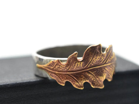 Rustic Brass Oak Leaf Ring with Sterling Silver Band