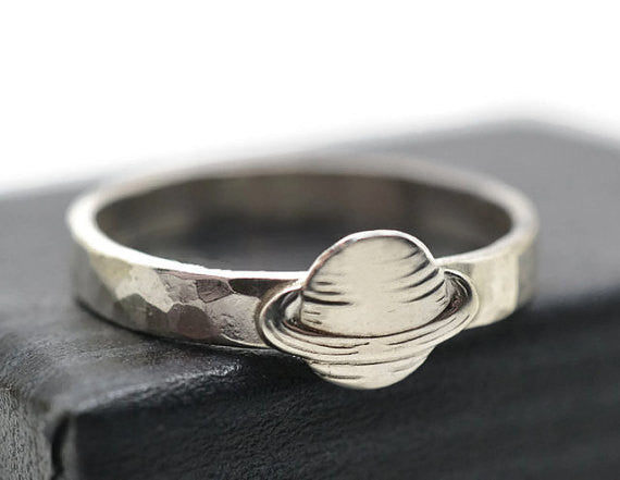 Silver Planet Charm on 3mm Sterling Silver Band