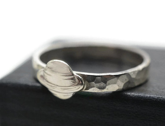Handmade Engravable Silver Saturn Charm Ring