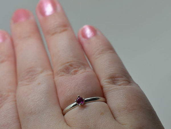3mm Ruby & Sterling Silver Ring