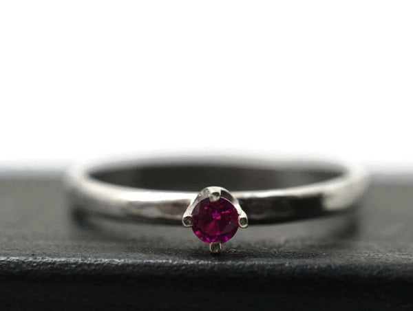 Tiny 3mm Ruby & Silver Engagement Ring