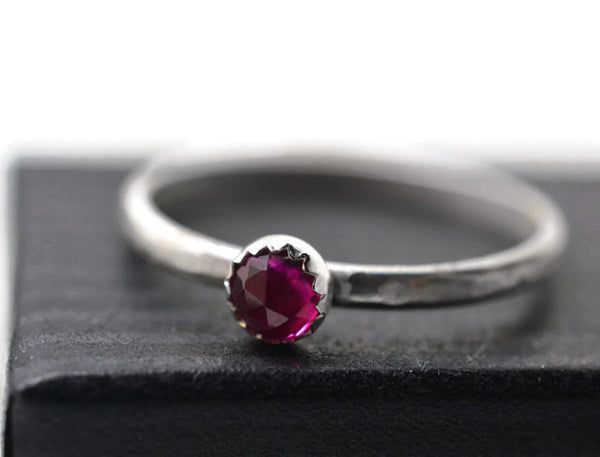 Sterling Silver & Lab Ruby Stacking Ring