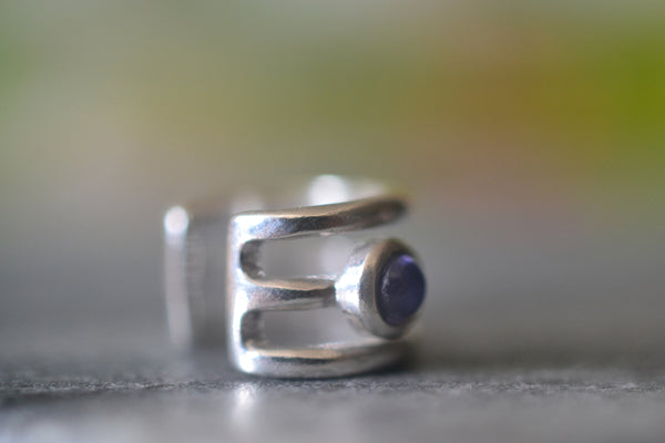 3mm Iolite Gemstone Ear Cartilage Cuff in Sterling Silver