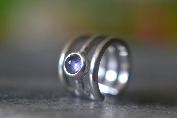 Natural 3mm Round Iolite Cabochon Ear Cuff in Sterling Silver
