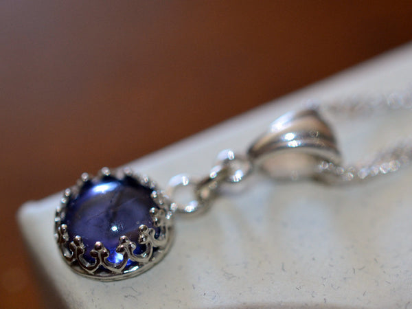 8mm Iolite Gemstone Necklace in Sterling Silver