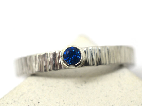 Sterling Silver Tree Bark Style Tiny Blue Topaz Promise Ring