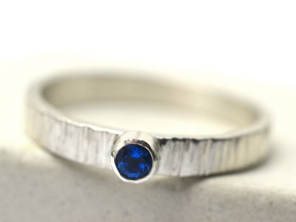 3mm Kashmir Blue Topaz Birch Bark Engagement Ring