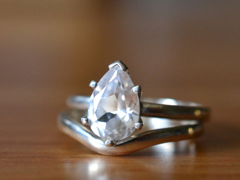 Simple White Sapphire Bridal Ring Set in Sterling Silver
