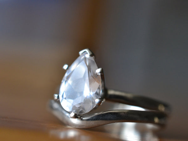 Simple Teardrop White Sapphire Wedding Band Set in Sterling