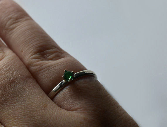 Handmade Sterling Silver & 3mm Emerald Engagement Ring