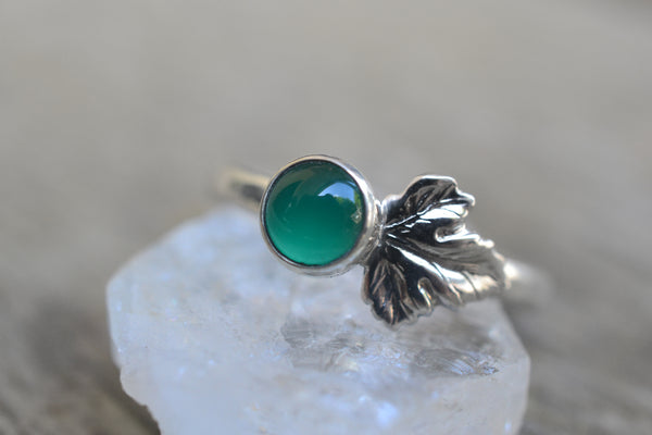 Lab Emerald Gemstone Berry Ring In Silver