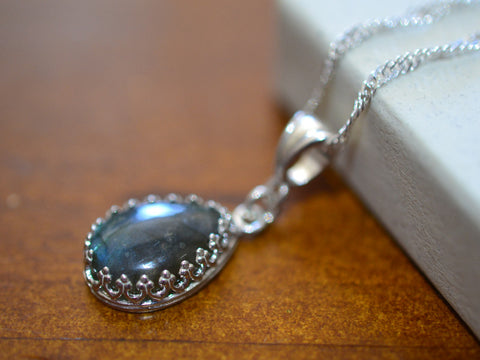 Pear Shaped Labradorite Necklace in Sterling Silver