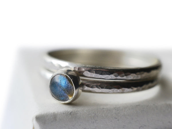 Simple 5mm Labradorite Engagement Ring Set in Silver