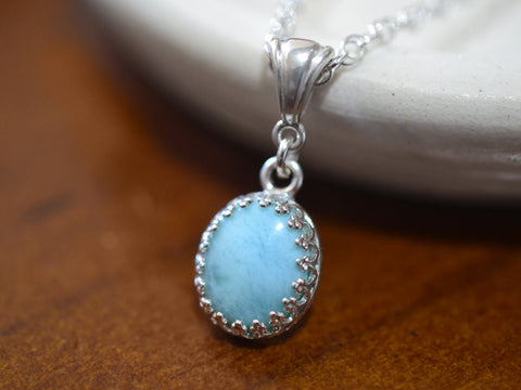 Handmade Oval Larimar Necklace in Sterling Silver