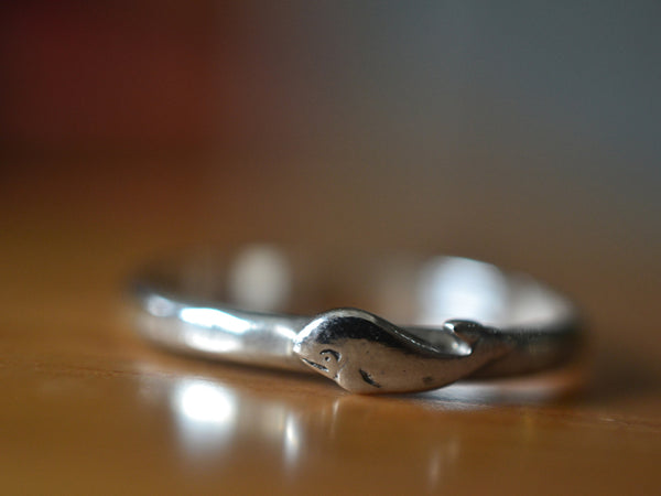 Dainty Little Sterling Silver Whale Ring