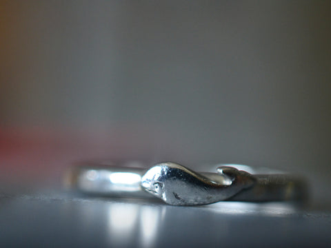 Cute Sterling Silver Whale Charm Ring