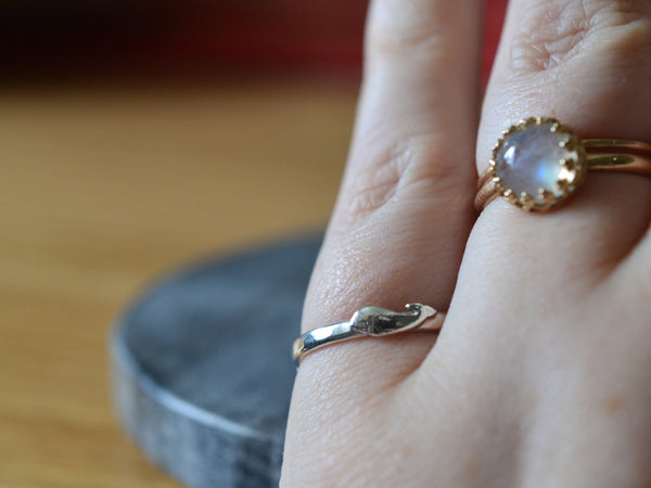 Sterling Silver Whale Charm Ring With Engraving