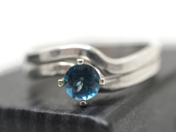 London Blue Topaz Ring & Wavy Wedding Band