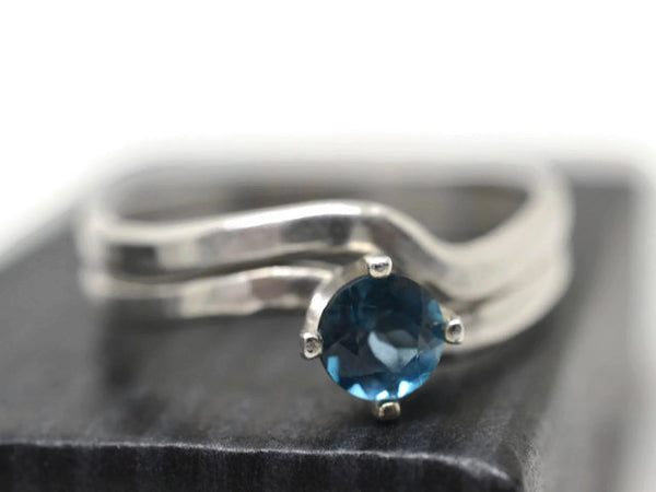 Wavy London Blue Topaz Wedding Set