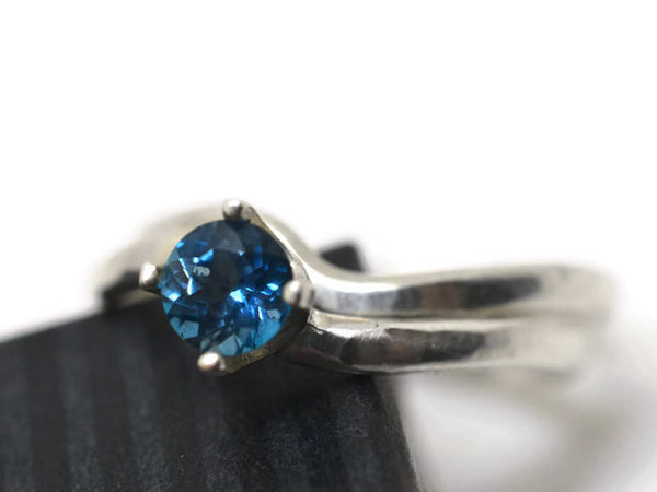 London Blue Topaz Solitaire Ring & Wedding Band