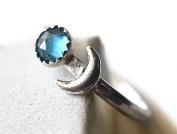 Rose Cut London Blue Topaz & Silver Crescent Moon Ring